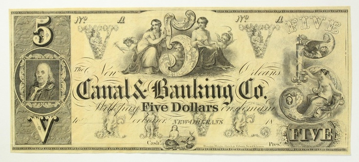 1800s Five Dollar 5 Bill Canal & Banking Co New Orleans Remainder Obsolete Note   eBay