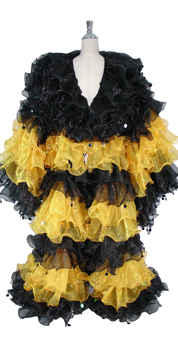 Long Organza Ruffle Coat with Long Sleeves and Highlight Sequins in Black and Yellow.