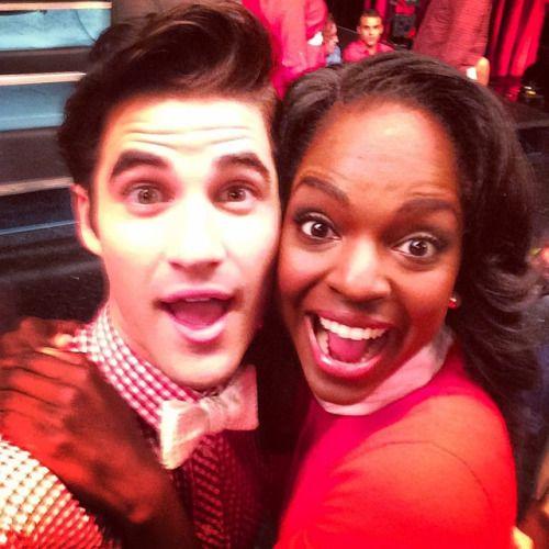 Darren Criss and Samantha Ware on the Glee set