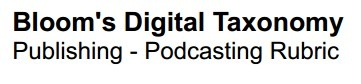 Bloom's Digital Taxonomy Podcast Rubric http://edorigami.wikispaces.com/file/view/Publishing+-podcasting+rubric.pdf