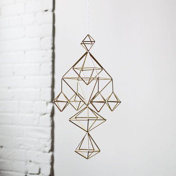 Brass Himmeli no. 5 / Modern Hanging Mobile / Geometric by HRUSKAA