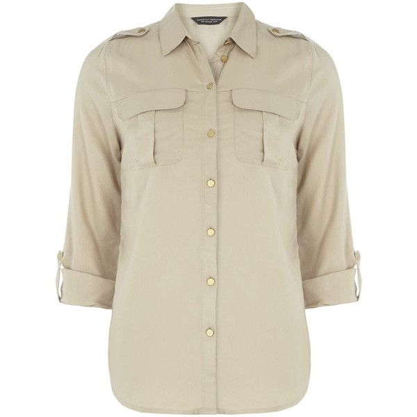 Dorothy Perkins Stone Military Shirt (684.055 VND) ❤ liked on Polyvore featuring tops, white, military style shirt, stoner shirt, pleated top, white pleated top and shirt top