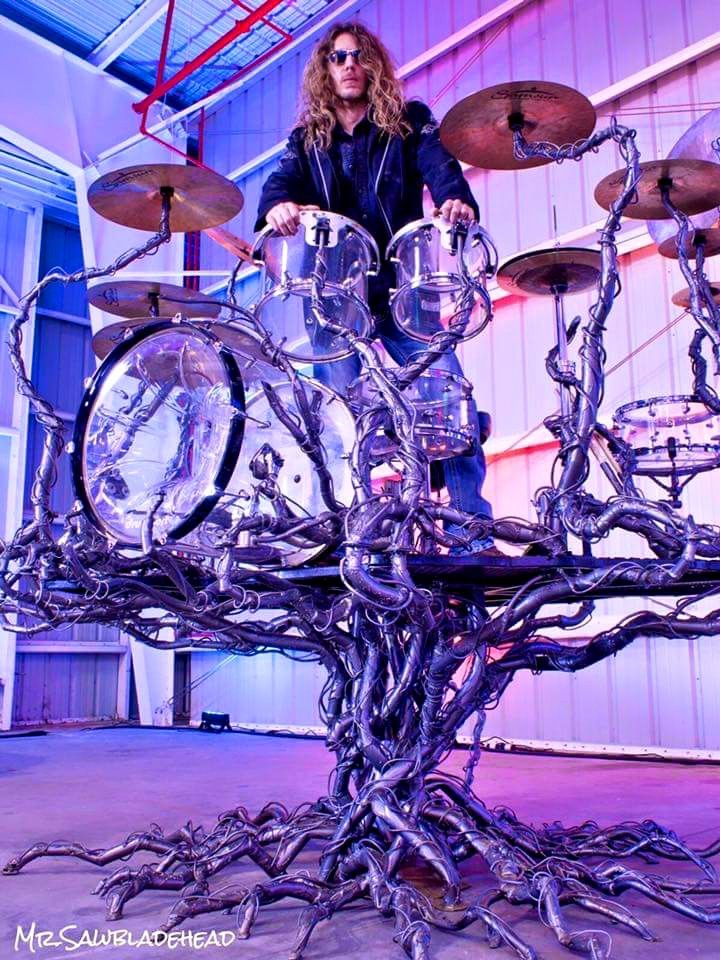 Tree Drum Kit Set Up. RESEARCH https://www.pinterest.com/claxtonw/drummer-drumming/ - It's SUPER annoying &  rather unethical to NOT give credit for photos, tho posting on Facebook presumes someone might not: 10,750 SHARES by 10-9-2015. CREDIT: Life Tree Design drumkit designs are shared on Facebook by pseudonym musician Mr. Sawbladehead who describes himself as Artist, Professional Drummer, Audio Engineer, metal fabricator. Website is on MySpace site. #Sawbladehead