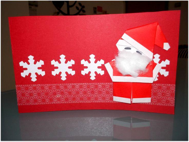 #xmascard #origami #washitape [Babbo Natale origami realizzato con queste istruzioni: http://www.pinterest.com/pin/213850682280006144/ ]