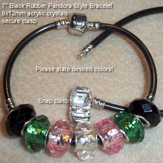 "Pandora Style Bracelet  Secure snap clasp on 7"" rubber bracelet with 9x12mm acrylic crystals. State colors of 7 crystals please.  $8.00 b109    http://battlebeads.com/images/done/reg/bracelets/2/109racpan.jpg"