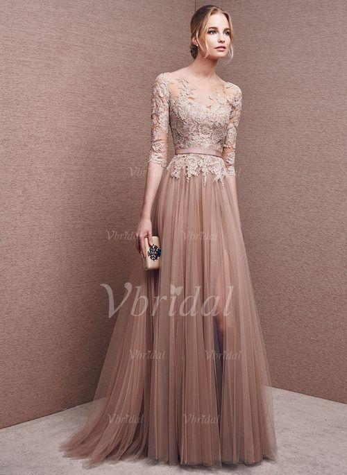 Abendkleider - $143.69 - A-Linie/Princess-Linie U-Ausschnitt Bodenlang Tüll Abendkleid mit Applikationen Spitze Schlitz Vorn (0175092712)