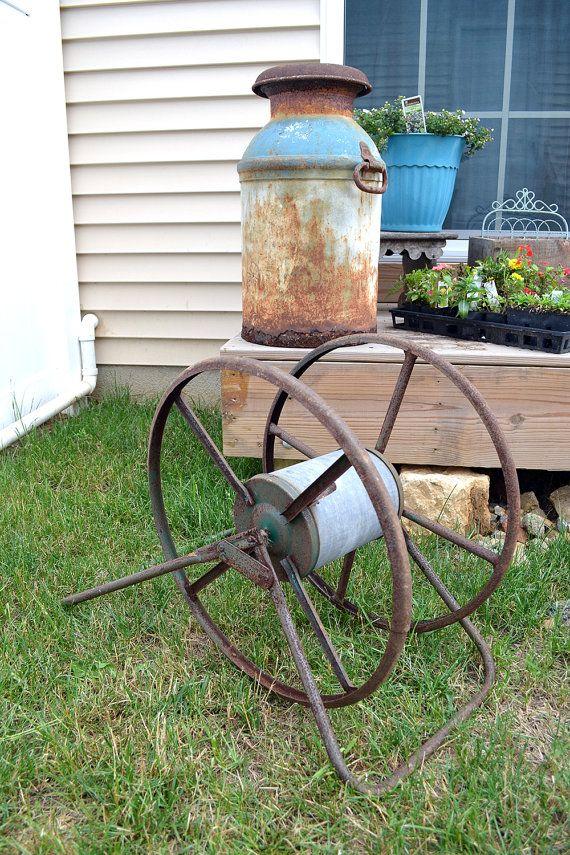 Rustic Garden Hose Reel Large Antique Hose Reel by BananasDesign