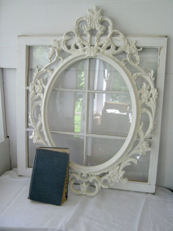 Shabby Chic Large Oval Baroque Ornate Open Frame Antique White Gallery Frame Home Decor