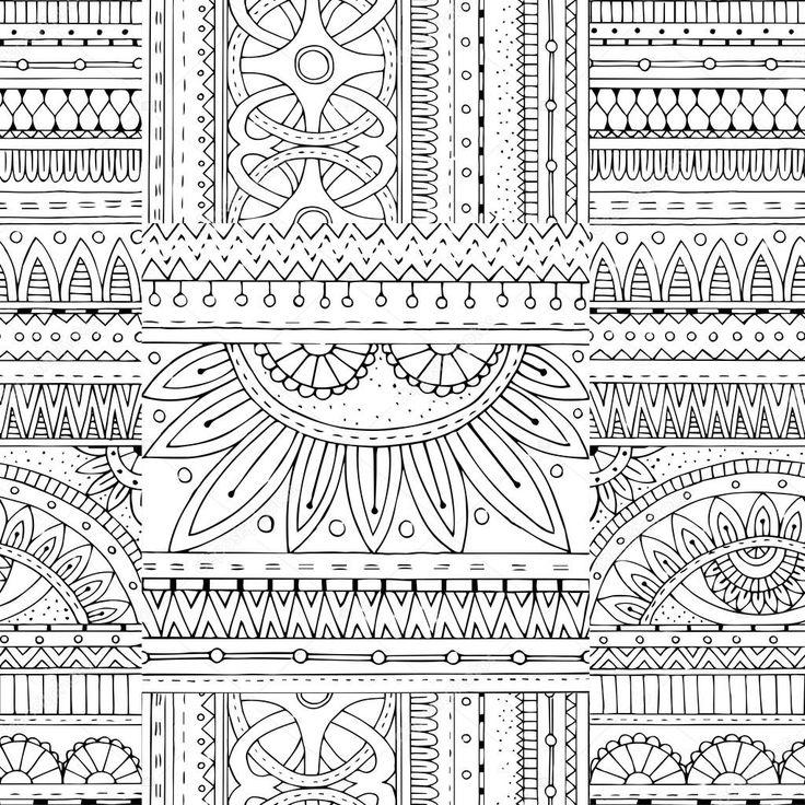 Zentangle achtergrond in vector met tribal doodles. Naadloze vector etnische patroon kan worden gebruikt voor wallpaper, opvulpatronen, Kleurplaat boeken en pagina's voor kinderen en volwassenen. Zwart-wit — Stockillustratie #85925382
