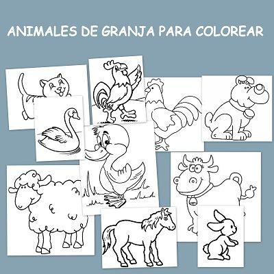 Animales de granja para colorear - Escuela en la nube
