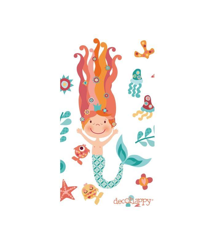 Vinilo decorativo infantil de tela Sirenas Felices-Venta online Decohappy