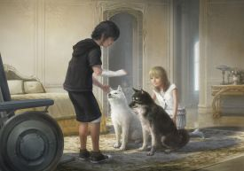 Noct, Luna, and puppies FFXV