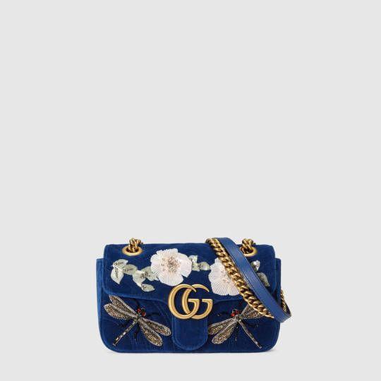 GG Marmont embroidered velvet mini bag - Gucci Women's Shoulder Bags 446744K4DPT4567