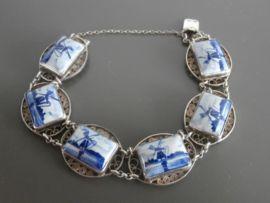 Mooie filigrain armband met zes Delftse stenen
