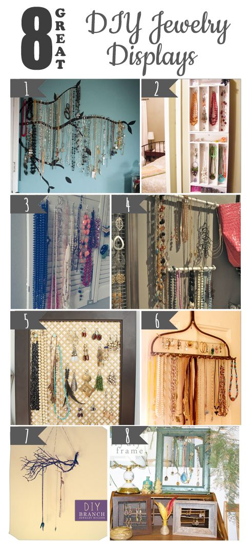 Don't buy a jewerly display, make your own. Here are 8 great DIY jewelry displays for you to make at home!