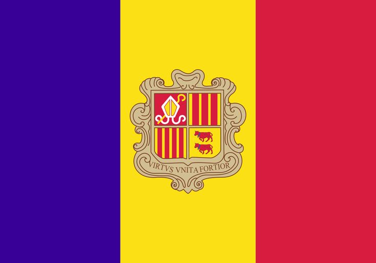 For Andorra's flag, there are two versions of Andorra's coat of arms, the French Coat of Arms, and the Spanish Coat of Arms.