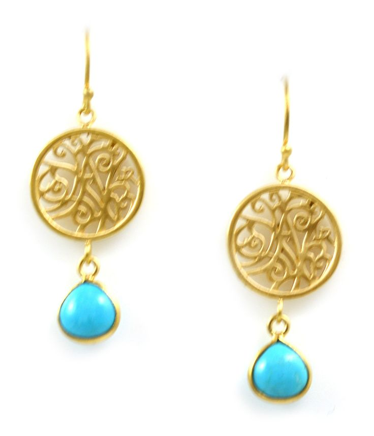 Earrings Mini Portale With Turquoise Drop In Yellow Gold