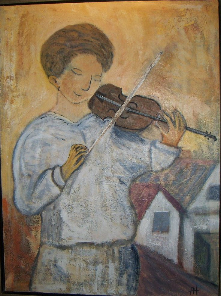Violinspiller akrylmaleri 80 x 60