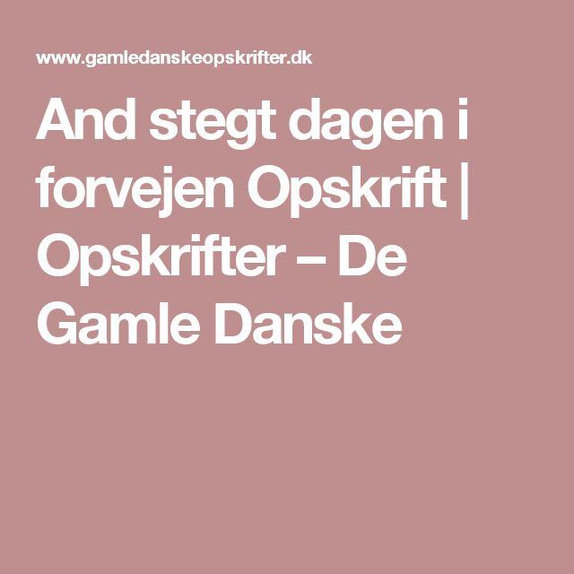 And stegt dagen i forvejen Opskrift   Opskrifter – De Gamle Danske