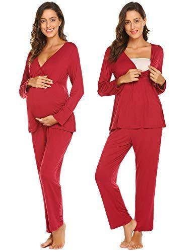 399fbdb5ffebe Ekouaer Womens Maternity Nursing Pajamas Set Soft Breastfeeding Pjs  Pregnancy Sleepwear Set, Wine Red, XX Large
