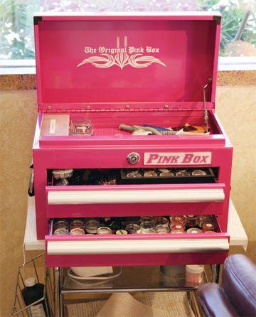 makeup storage ideas- Pink Tool Box, Pink Box Bench Tool Boxes, Pink Toolbox, Pink Box Toolboxes