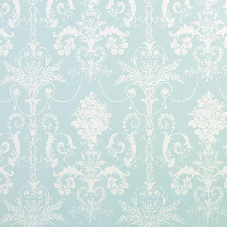 Laura Ashley … Josette Duck Egg Blue French-Inspired Damask Wallpaper .. love