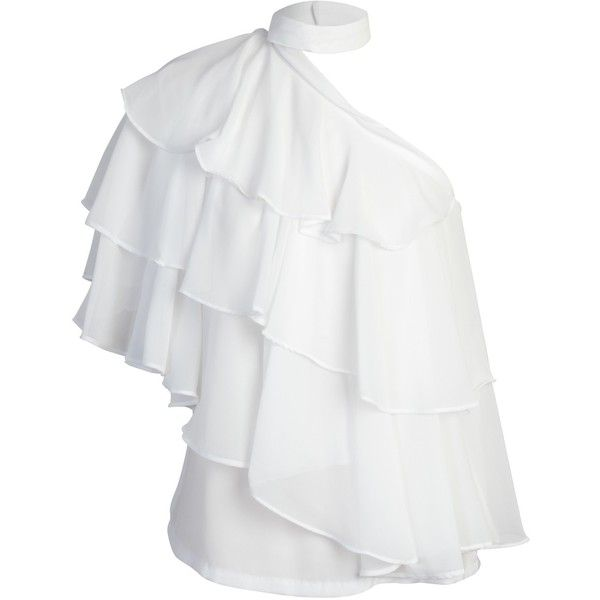 storets Betty One Shoulder Ruffle Blouse (1.265 ARS) ❤ liked on Polyvore featuring tops, blouses, white ruffle blouse, white frilly blouse, one sleeve top, one shoulder tops and one shoulder ruffle top
