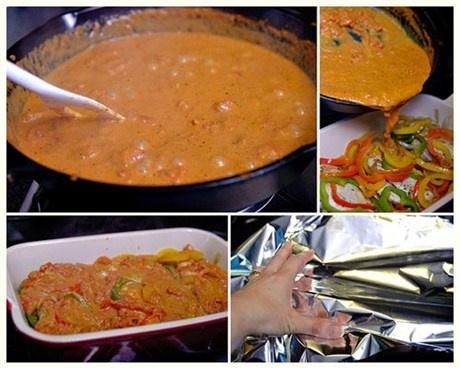 6. Варить соус 5 минут на медленном огне. Залить им курицу с овощами. Закрыть фольгой, отправить в духовку при температуре 200 градусов на 30 минут.