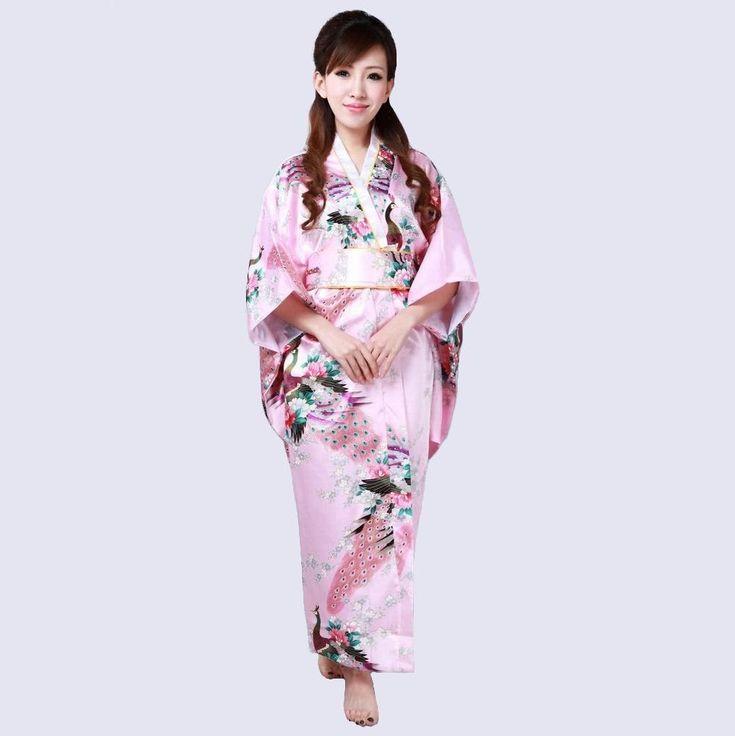 High Quality Pink Japanese Women's Silk Rayon Kimono Traditional Yukata With Obi Evening Dress one size Mujeres Quimono H0040-B