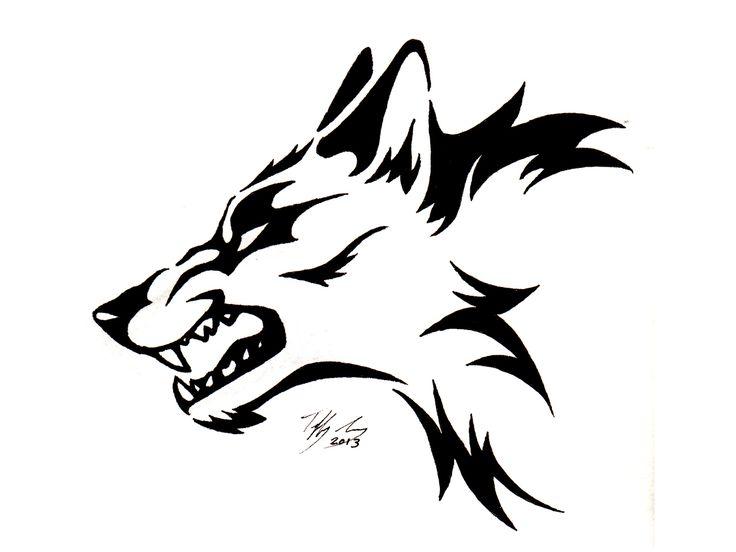 Tribal Wolf Head Tattoo | Black Tribal Wolf Tattoo Design Drawing