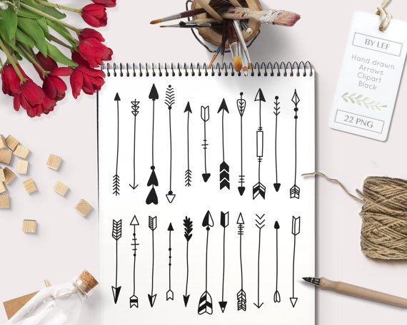 By Lef graphics on Etsy Hand drawn Arrows Clipart. Black Tribal arrow clip art for logo and graphic design scrapbooking making wall art or cards and other designs by ByLef