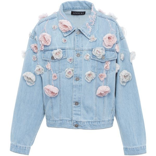 Anouki Floral Denim Jacket found on Polyvore featuring polyvore, women's fashion, clothing, outerwear, jackets, blue, floral denim jacket, flower print jacket, blue floral jacket and floral jean jacket