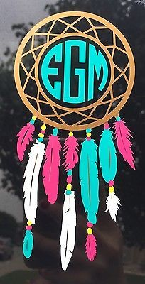 Dream Catcher Monogram Vinyl Decal Choose Your Colors Laptop Car Yeti Sticker