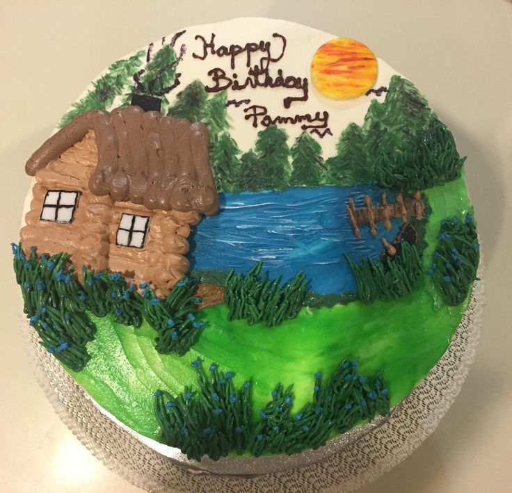 Lake Wedding Ideas: Lake Themed Cake-all Hand Painted With Buttercream