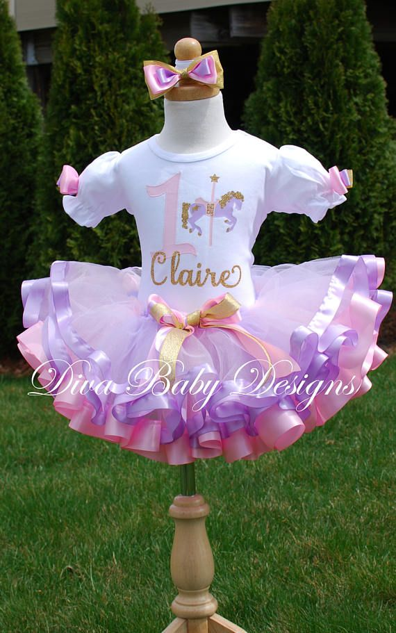 Pink lavender and gold Carousel ribbon trimmed birthday tutu