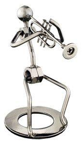 Silver Trumpet Player Figurine