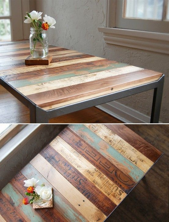Recycled pallets table top. This would be a great craft table for