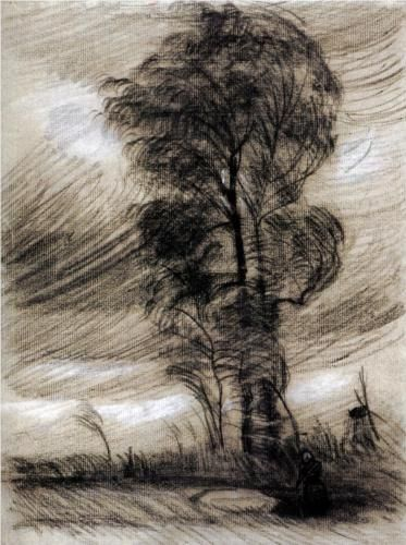 Landscape in Stormy Weather by Vincent van Gogh