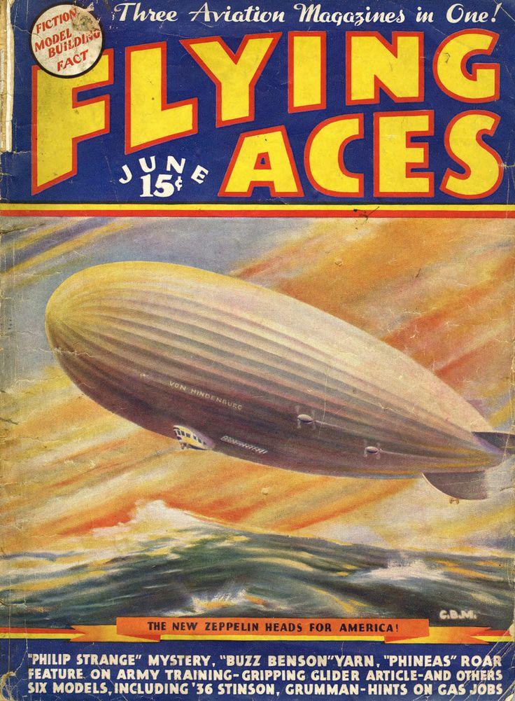 A Flying Aces ponyvaregény-magazin 1936. júniusi száma címlapon szerepelteti az Amerikába rendszeresen ellátogató léghajót.