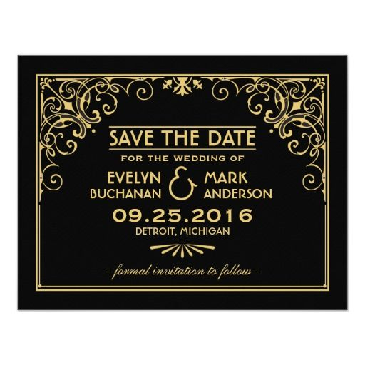Elegant and glamorous wedding save the date announcements inspired by vintage art deco style and the roaring twenties.  Card design features a black and gold color scheme, ornate decorative frame, custom text, and a graphic pattern on the back side.