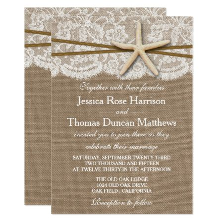 The Rustic Starfish Beach Wedding Collection Card - click/tap to personalize and buy
