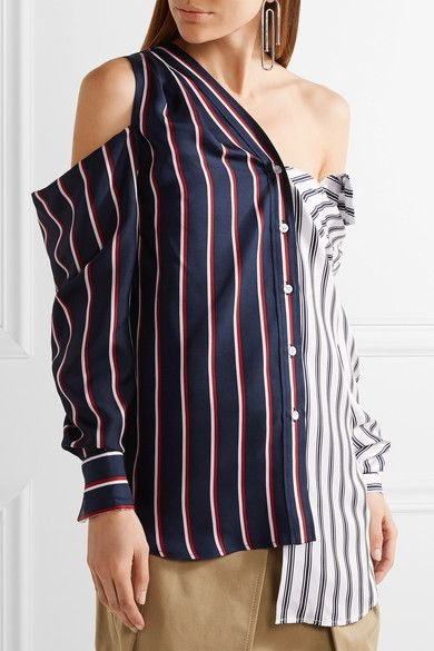 Monse - Cold-shoulder Striped Silk-satin Shirt - Midnight blue - US10