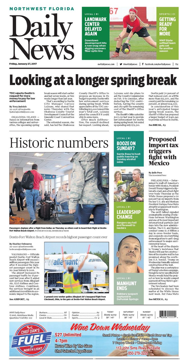 The Jan. 27, 2017, front page of the Northwest Florida Daily News: Destin-Fort Walton Beach Airport records highest passenger count ever