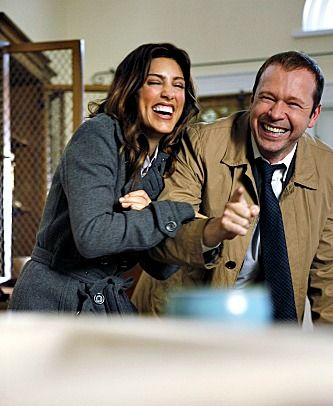 Will never stop missing Jennifer...Jennifer Esposito and Donnie Wahlberg cracking up behind the scenes
