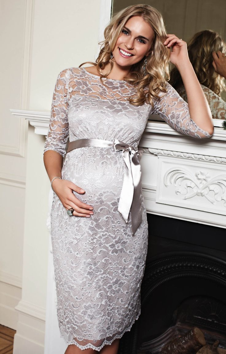 We've added a sensational shimmering soft silver shade to our classically beautiful Amelia lace maternity dress. Stunning glamour for cocktail hour.