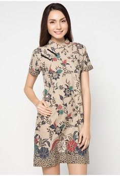 Dress Katun Print Sanghai Indigo from Batik Putra Bengawan in brown