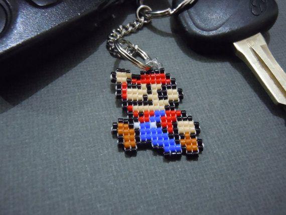 Handmade Seed Bead Mario Pixel Keychain by Pixelosis