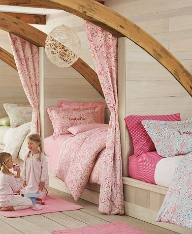 so cute. curtains to separate their beds. : Ideas, Kids Bedrooms, Houses, Attic Bedrooms, Girls Bedroom, Twin Beds, Bunk Rooms, Girls Rooms, Kids Rooms