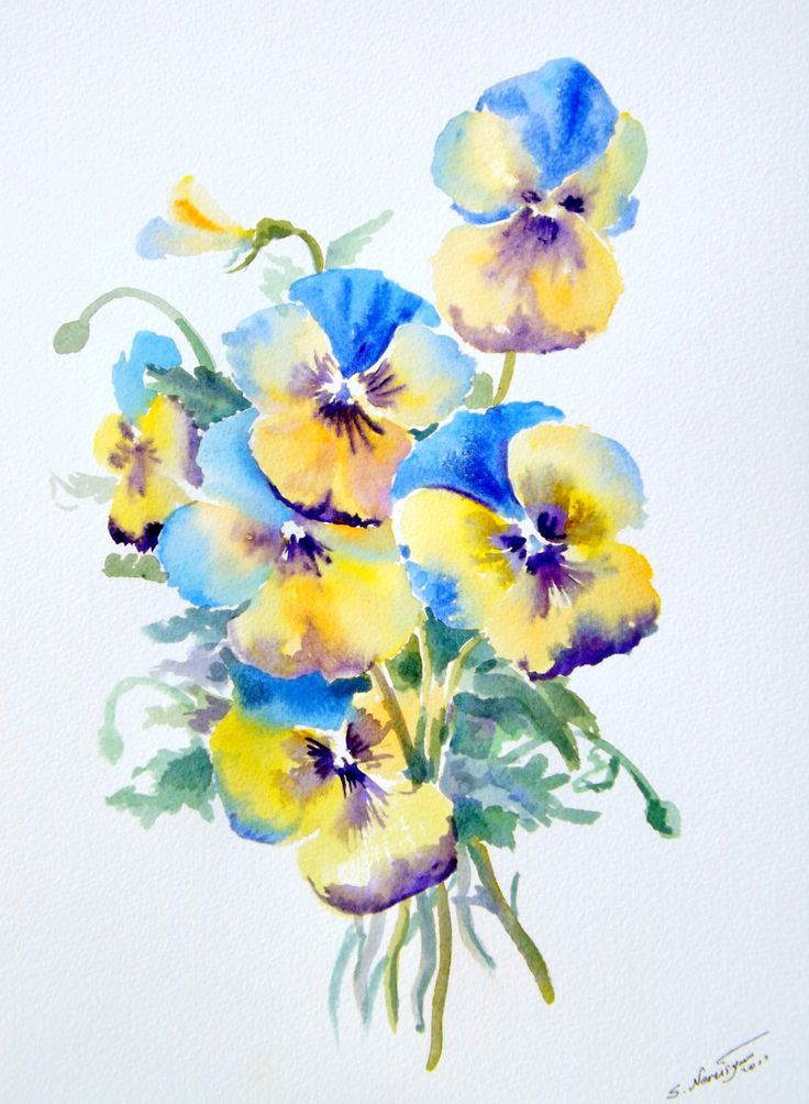 Watercolor pansies!