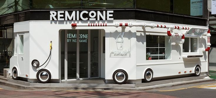 distinguished by its playful façade, this quirky ice-cream shop named 'remicone' is based in the gangnam-gu district of seoul. the interiors have been designed by korean studio betwin space design, while the graphic identity has been developed by YNL design.